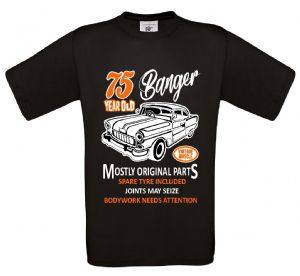 Premium Funny 75 Year Old Banger Classic Car Motif For 75th Birthday Anniversary gift mens t-shirt